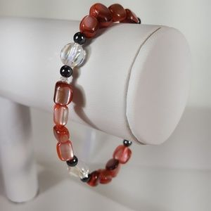 B51 Rich Pink Mother Of Pearl Stretch Bracelet